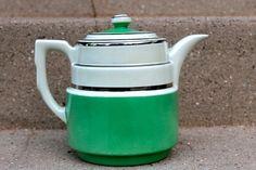 Vintage Art Deco Hall's Superior Quality Kitchenware Teapot   Kitchen