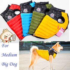 Hoodies Casaco quente Grande Big dog Pet Roupas de Inverno Quente macacão Colete À Prova D' Água Golden retriever XXL 3XL Vestido Vermelho Da Menina China