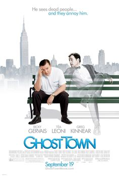 Ghost Town , starring Ricky Gervais, Greg Kinnear, Téa Leoni, Jordan Carlos. Bertram Pincus is a man whose people skills leave much to be desired. When Pincus dies unexpectedly, but is miraculously revived after seven minutes, he wakes up to discover that he now has the annoying ability to see ghosts. #Comedy #Fantasy #Romance