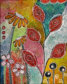 mixed media on 8x10 flat panel canvas; whimsical flowers, leaves; betty franks krause