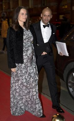 Princess Sofia arrives at a fundraiser for her charity Project Playground with general-secretary Daniel Madhani. The royal told reporters on the red carpet that she's 'very excited' about the birth of her first child, due next month  The Princess declined to reveal any potential baby names and is believed not to have found out whether she's expecting a boy or a girl.