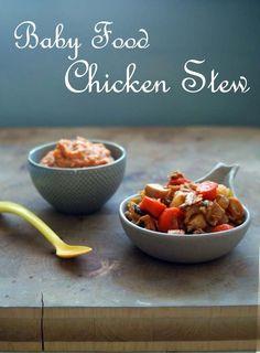 Baby food recipe | Chicken stew INGREDIENTS: chicken thighs, onion, olive oil, carrots, celery stalk, potato, garlic, thyme, bay leaf, tomato paste, chicken stock FOR: 6+ months