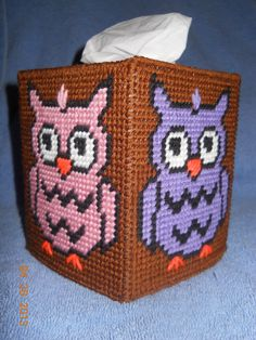 Owl Tissue Box Cover Plastic Canvas by SpyderCrafts on Etsy