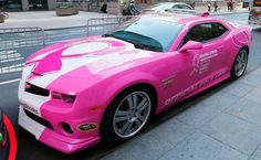 The Chevrolet Camaro SS Pink pace car in support of Breast Cancer Awareness Month is seen at FOX on October 1, 2013 in New York City. (Photo...