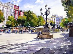 I have painted this lovely square in the historic centre of Granada several times and all the originals have been bought by collectors. I have always painted it looking the opposite way to feature ...