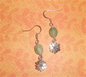 Silver flowers and green glass bead. Silver fish hook earrings. Price: $6.00