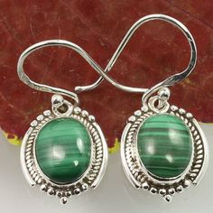 925 Solid Sterling Silver Real MALACHITE Oval Gemstones Vintage Style Earrings #Unbranded #DropDangle