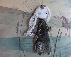 Forest spirit Fox Brave Girl art doll brooch ooak doll