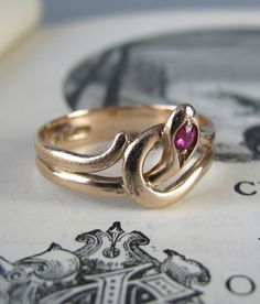 LOVELY antique Victorian snake ring gold ring ruby by LeolaRevives