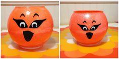 Pumpkin Glittered Candle/ Halloween by CreativeGlassByBecky