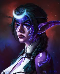 Fantasy Characters, Female Characters, Fictional Characters, Night Elf, World Of Warcraft, Warcraft Art, Amazing Art, Twitter, Character Art