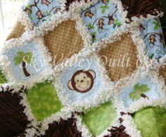 Baby boy Rag quilt Jungle Monkey in blue, green, and brown