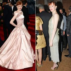 Pin for Later: The Fashion Crowd Never Wears the Same Dress All Night Karen Elson From pretty princess to a more modern party dress, Karen traded a pink full skirt for a slim sparkly dress with a low back.
