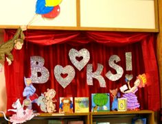 "Rachel Moani designed this book display for February and Valentine's Day.  I like how she used ""hearts"" instead of ""O's"" for the word ""Book."""