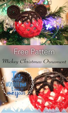 [FREE PATTERN] Disney series Christmas ornament: Crochet Mickey Mouse Christmas Ornament. Step-by-step is provided on my blog!