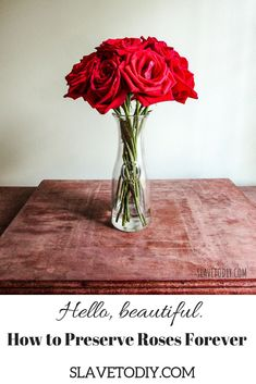 Well, maybe not forever. But, a lot longer than leaving them in water! Did someone send you a flower delivery?Lucky you! Preserve your gorgeous roses with minimal supplies. Check out the easy tutorial or pin for later reference! White Roses, Red Roses, How To Preserve Flowers, Preserving Flowers, Forever Rose, Line Flower, Preserved Roses, Simple Rose, Rose Arrangements