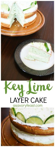 You've got to try this refreshing layer cake this summer! This Key Lime Layer Cake is made from scratch with a secret ingredient to give it a pretty lime color! #WayfairCakeOff