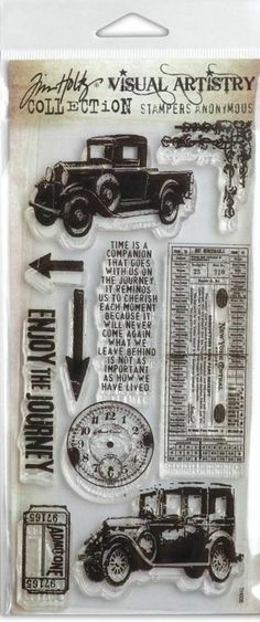 Tim Holtz Visual Artistry Clear Stamps THE JOURNEY Cars