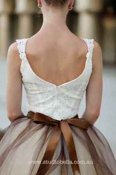Brown and cream tutu tulle skirt for women. Chocolate brown satin ribbon waist.