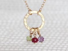 Gold Eternity Necklace with Birthstone Birthstone by VivaRevival