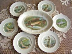 Antique Game Plate Fish Platter Set RK Beck Fishing Lodge Hunting Cabin Decor Trout Stream Signed RK Beck by cynthiasattic on Etsy https://www.etsy.com/listing/205921188/antique-game-plate-fish-platter-set-rk
