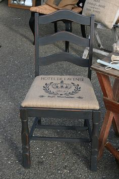 Reloved Rubbish: Burlap and Graphite Chair...to go with other French etc in guest room?