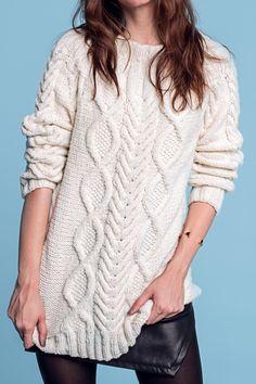 Cream cabled Aran sweater FREE knitting pattern in German (hva)
