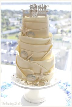 White Chocolate Wrapped Seashell & Starfish Wedding Cake