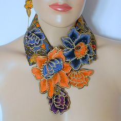 African  Dutch Java fabric print collar necklace with by Dabanga,