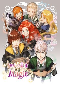 The Big Six in Hogwarts. Arte Disney, Disney Fan Art, Disney Love, Disney Crossovers, Cartoon Crossovers, Disney And Dreamworks, Disney Pixar, Disney Rapunzel, Hora Cartoon