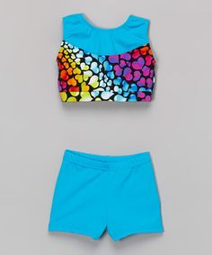 276afbafbe Love this Aqua   Purple Heart Crop Tank   Shorts - Toddler   Girls by Niva-Miche  Clothes on