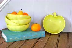 #Hazel Atlas #Bowls, Set of 5 #Bowls, Apple #Bowls, Milk Glass #Bowls, #Retro Apple ,  View more on the LINK: http://www.zeppy.io/product/gb/3/100781384/