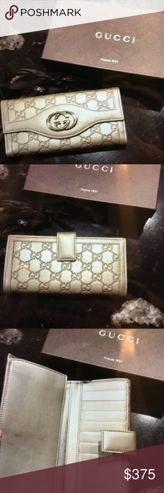 Authentic Gucci Sukey Leather Wallet Amazing Gucci wallet. Great used condition. Some slight scratches on the leather and some scuffs on hardware. Authenticity code shown in 4th pic. Please look at all pics before bidding. Price is firm! Comes with original box. Gucci Bags Wallets