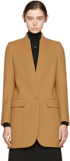 STELLA MCCARTNEY Tan Bryce Single-Button Coat. #stellamccartney #cloth #coat