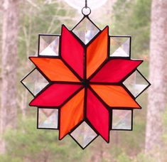 Stained Glass Suncatcher  8 Point Star Quilt Design in Red