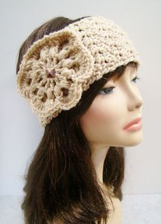FREE SHIPPING - CUSTOM Crochet Ear Warmer Headband with Flower and Button - Tan, Heather Gray, Charcoal, Off-White, Black, Brown, Maroon