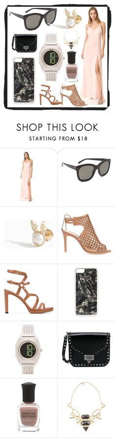 """Baja East Sleeveless Gown"" by mkrish ❤ liked on Polyvore featuring Baja East, Linda Farrow, Yvonne Léon, Alexandre Birman, Jimmy Choo, Zero Gravity, Nixon, Valentino, Deborah Lippmann and Isharya"