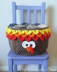 Turkey Yarn Basket Crochet Pattern - The Lavender Chair Thanksgiving Crochet, Crochet Fall, Holiday Crochet, Halloween Crochet, Crochet Home, Crochet Crafts, Yarn Crafts, Crochet Projects, Free Crochet