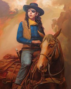 Angered by the gendered division perpetually seen in classic Western films, painter Felice House decided to create her painted series Re-Western. The collection of works are a re-imagining of her favorite Western films cast with female leads instead of the traditional male cowboys, painting females