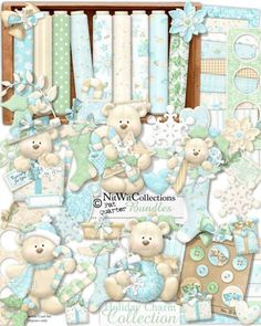 Card making and digital scrapbooking cute teddy bear Christmas kit. FQB - Holiday Charm Collection