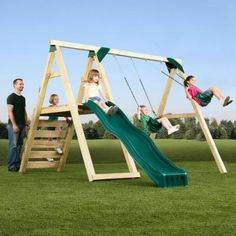 Swing-N-Slide Playsets Pine Bluff Play Set. Final cost to put together is about $400 after you buy lumber and slide.