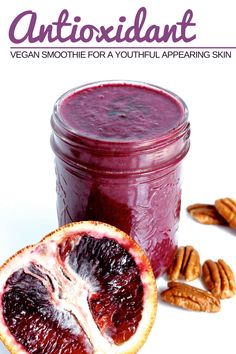 Quick and easy antioxidant vegan smoothie recipe made of blueberries, blood orange, pecans and dates. The best breakfast or meal replacement for youthful appearing skin. Only 4 ingredients, low calorie, dairy free, gluten free and super healthy. Make ahead of time and drink it on the go! #veganprogram #vegansmoothie