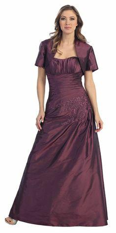 Long Plus Size Plum Formal Dress Taffeta Strapless W/Bolero