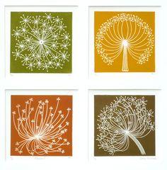 Dandelion 1 (blue) Linocut by Elaine Marshall Stamp Printing, Screen Printing, Linocut Prints, Art Prints, Block Prints, Dandelion Drawing, Dandelion Seeds, Linoprint, Silk Painting
