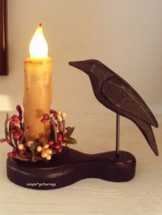 """Primitive Crow Holder & 4"""" TIMER IVORY BEESWAX Candle & Pip Ring Set, Grungy #Unbranded #Country"""