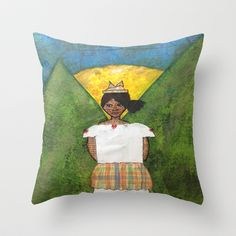 St. Lucian/Caribbean Girl Throw Pillow by Tiffany Alcide (owner of WISE Art) - $20.00