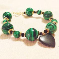 Green Malachite Bracelet Gold Jewelry Gemstone by jewelrybycarmal, $50.00