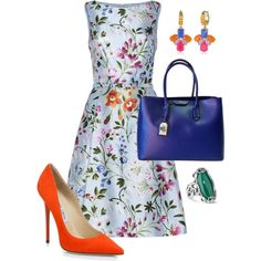 A fashion look from February 2015 featuring Oscar de la Renta dresses, Jimmy Choo pumps and Ralph Lauren tote bags. Browse and shop related looks.