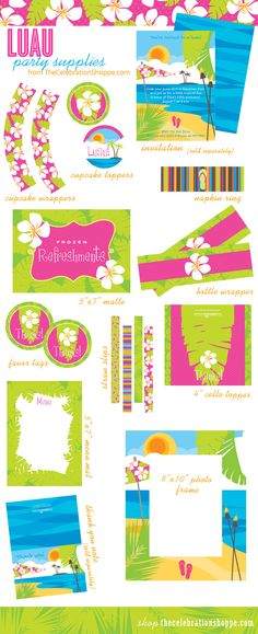 Luau Party Ideas in Pink, Orange and Green | Kim Byers, TheCelebrationShoppe.com #luau #pinkorange #hula
