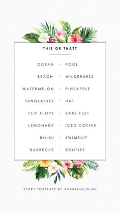 Instagram Story Template - This or That - Summer Edition